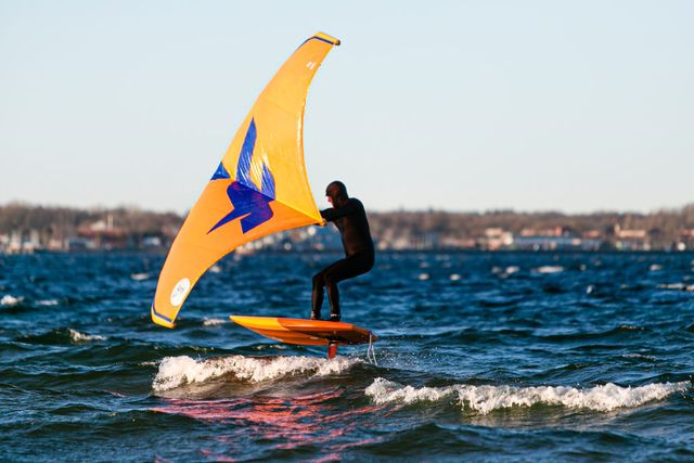 20 march 2020, schleswig holstein, eckernförde a wing foil surfer glides over the eckernförde bay at the astronomical beginning of spring, cool temperatures await the north, but the sun is mostly visible photo frank molterdpa photo by frank molterpicture alliance via getty images