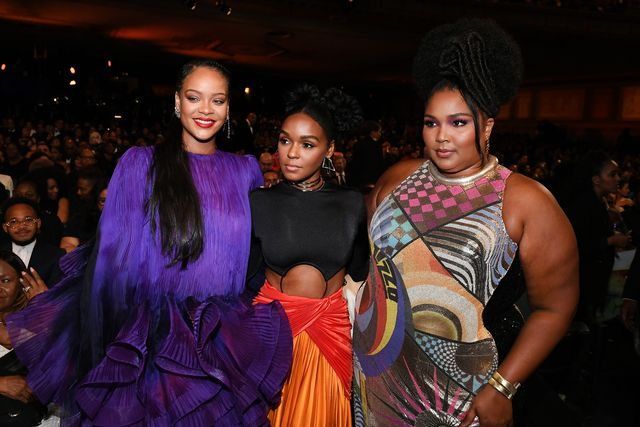 pasadena, california   february 22 l r rihanna, janelle monáe, and lizzo attend the 51st naacp image awards, presented by bet, at pasadena civic auditorium on february 22, 2020 in pasadena, california photo by paras griffingetty images for bet