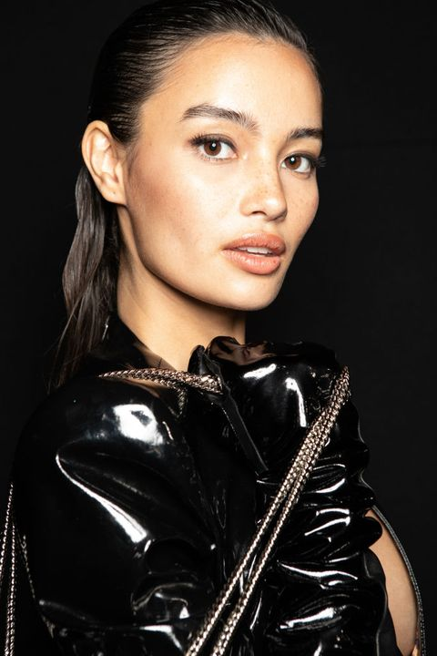 milan, italy   february 22 kelsey merritt is seen backstage at the philipp plein fashion show on february 22, 2020 in milan, italy photo by rosdiana ciaravologetty images