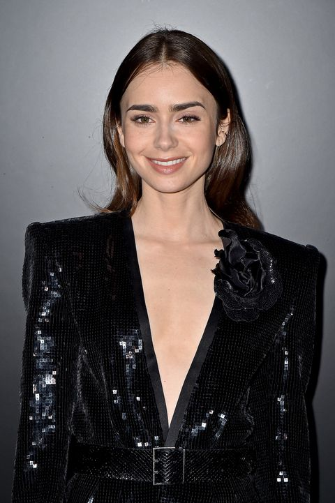 paris, france   february 25 editorial use only lily collins attends the saint laurent show as part of the paris fashion week womenswear fallwinter 20202021 on february 25, 2020 in paris, france photo by dominique charriauwireimage