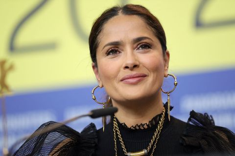 berlin, germany   february 26 salma hayek at the the roads not taken press conference during the 70th berlinale international film festival berlin at grand hyatt hotel on february 26, 2020 in berlin, germany photo by andreas rentzgetty images