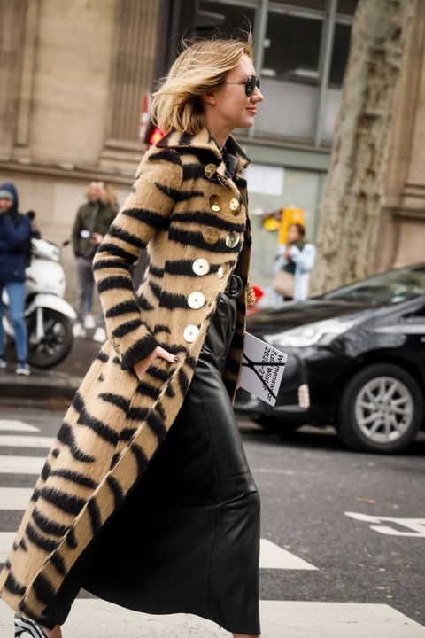paris, france   february 27  lisa aiken wearing animal print short fur jacket, leather skirt, zebra printed heels and sunglasses outside the paco rabanne show during the paris fashion week womenswear fallwinter 20202021 on february 27, 2020 in paris, france photo by hanna lassengetty images