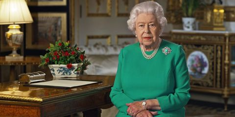 windsor, england   april 05 news editorial use only no commercial use including any use in merchandising, advertising or any other non editorial use in this handout photo provided by buckingham palace, queen elizabeth ii addresses the nation in a special broadcast to the united kingdom and the commonwealth in relation to the coronavirus outbreak at windsor castle on april 5, 2020 in windsor, england photo by buckingham palace via getty images