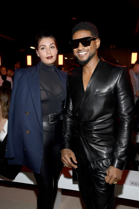 paris, france   february 28 editorial use only jenn goicoechea and usher attend the balmain show as part of the paris fashion week womenswear fallwinter 20202021 on february 28, 2020 in paris, france photo by pascal le segretaingetty images