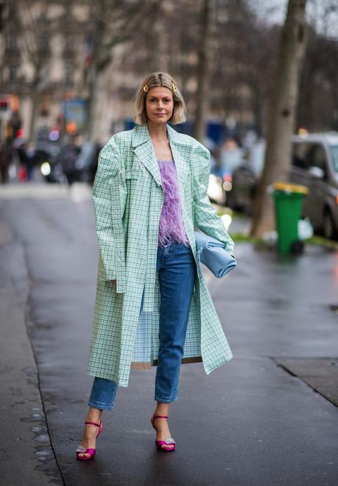Clothing, Street fashion, Photograph, Fashion, Pink, Snapshot, Outerwear, Coat, Jeans, Street,