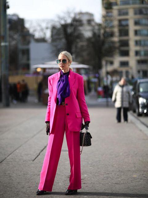 Pink, Suit, Street fashion, Clothing, Fashion, Red, Pantsuit, Magenta, Formal wear, Snapshot,