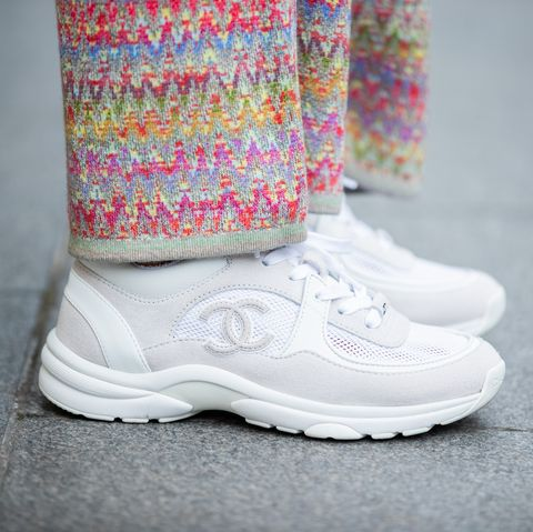 paris, france   february 29 gitta banko is seen wearing sneakers chanel, bottega veneta cassette bag during paris fashion week   womenswear fallwinter 20202021  day six on february 29, 2020 in paris, france photo by christian vieriggetty images