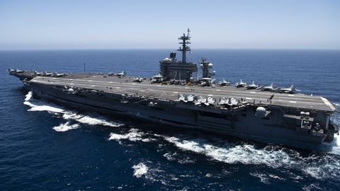 pacific ocean   july 15  in this handout released by the us navy,  the aircraft carrier uss theodore roosevelt cvn 71 transits the pacific ocean theodore roosevelt is conducting routine operations in the eastern pacific ocean  photo by us navy via getty images