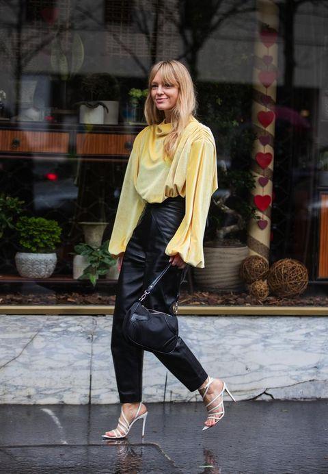 Street fashion, Clothing, Black, Leather, Fashion, Footwear, Yellow, Snapshot, Leather jacket, Jacket,