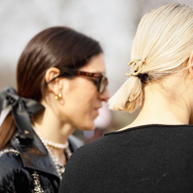 paris, france   march 03 linda tol wearing chanel headpiece outside paris fashion week womenswear fallwinter 20202021 day nine on march 03, 2020 in paris, france photo by hanna lassengetty images