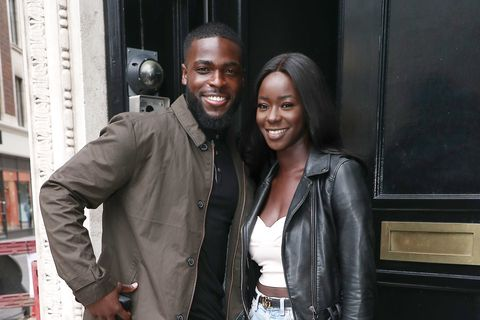 london, england   march 04 mike boateng and priscilla anyabu from love island 2020 seen arriving at heat radio studios on march 04, 2020 in london, england photo by neil mockfordgc images