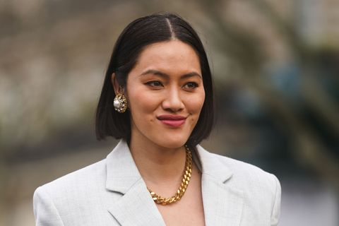 paris, france   march 03 tiffany hsu wears a bejeweled earring and a golden necklace, outside miu miu, during paris fashion week   womenswear fallwinter 20202021 on march 03, 2020 in paris, france photo by edward berthelotgetty images