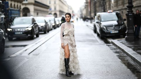 paris, france   march 01 camila coelho is seen wearing outside the giambattista valli show during paris fashion week womenswear fallwinter 20202021 day seven on march 01, 2020 in paris, france photo by jeremy moellergetty images