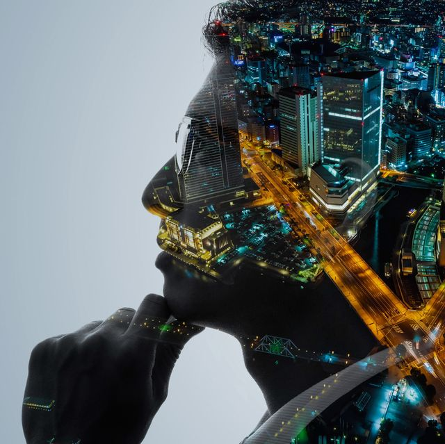 society and engineer concept double exposure