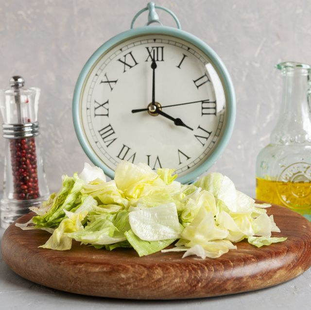 alarm clock and plate with green iceberg lettuce, olive oil,  intermittent fasting concept, ketogenic diet, weight loss