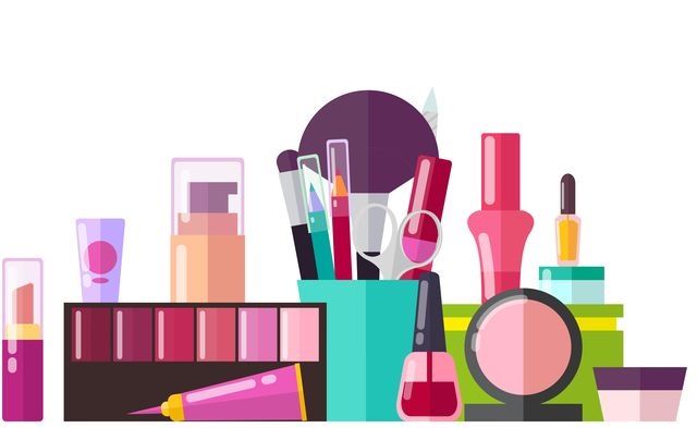 set of various cosmetic stuff vector illustration of different containers with polish, pink lipstick, eyeliners and creams isolated on white backdrop