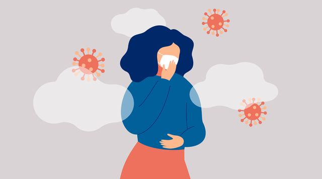 sick woman surround microbes is wearing face mask concept of coronavirus epidemic and viral infectious disease vector illustration