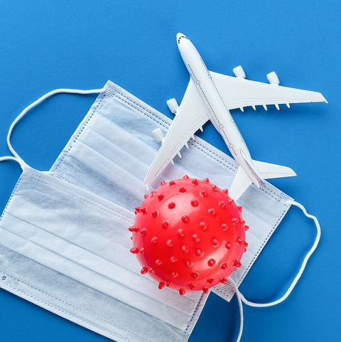 coronavirus, protective medical disposable masks, airplane on a blue background banner
