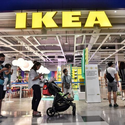 people queue up to enter ikea as it reopened after restrictions to halt the spread of the covid 19 coronavirus were lifted in bangkok on may 17, 2020 photo by lillian suwanrumpha  afp photo by lillian suwanrumphaafp via getty images