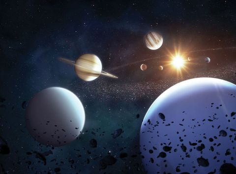 illustration of the solar system viewed from beyond neptune, with all eight planets visible around the sun, created on april 14, 2016 illustration by tobias roetschfuture publishing via getty images