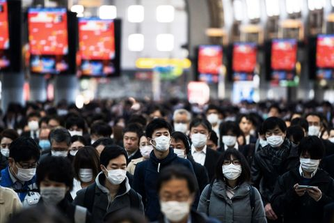 tokyo, japan   march 26 commuters wearing face masks make their way to work on march 26, 2020 in tokyo, japan tokyo governor yuriko koike held a press conference last night to request citizens to refrain from going outside this weekend for nonessential reasons after 41 cases of new coronavirus infections were confirmed yesterday she warned that tokyo, one of the largest and most densely populated cities on earth, could face a lockdown if there is a surge in new coronavirus cases  photo by tomohiro ohsumigetty images