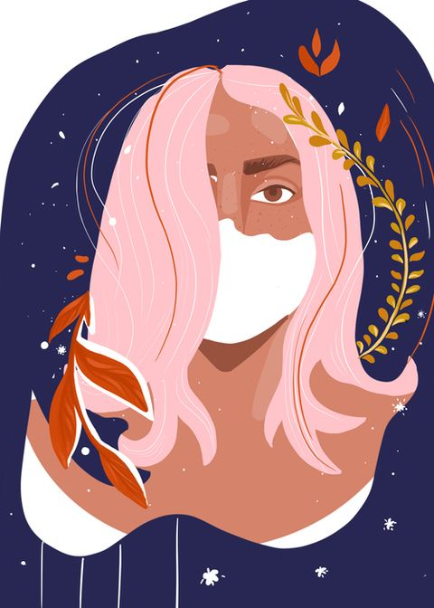portrait of a young woman with a face mask on a floral background colourful modern illustration