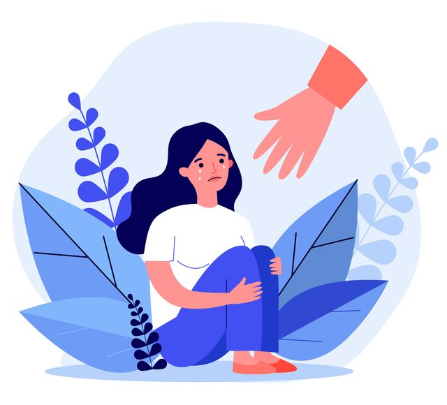 young woman getting help and cure from stress flat vector illustration girl feeling anxiety and loneliness helping hand psychotherapy, counseling and psychological support concept