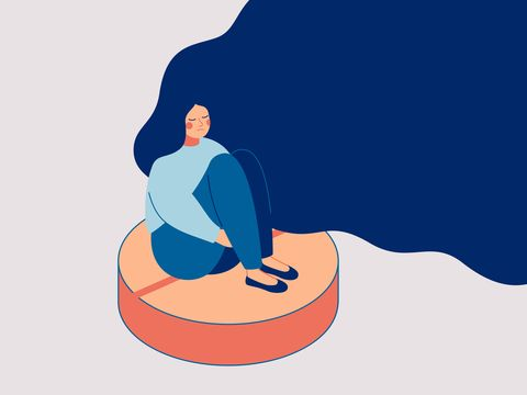 depress woman sits on the big pill concept of influence side effects of pills on the women's moods vector