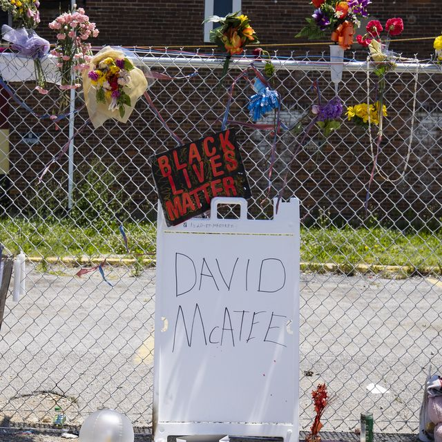 louisville, ky   june 06  general view of a makeshift memorial for david mcatee outside the location where he was shot and killed by police in the early hours of monday morning on june 6, 2020 in louisville, united states this is the 12th day of protests since george floyd died in minneapolis police custody on may 25 photo by brett carlsengetty images