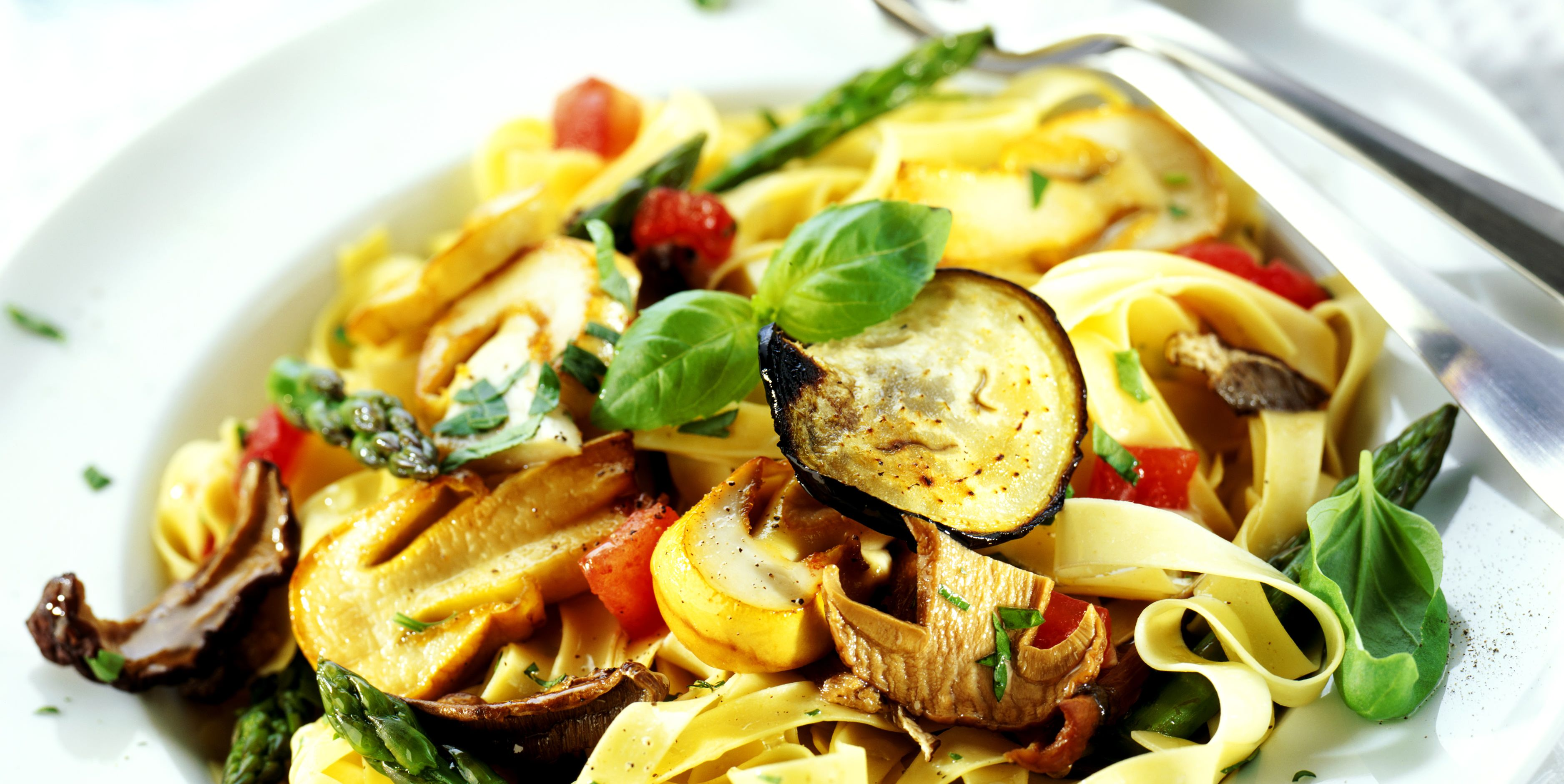 Fettucine with roasted Mediterranean vegetables
