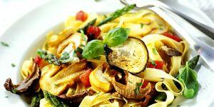 Fettucine with roasted Mediterranean vegetables