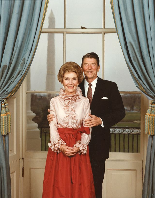 portrait of president ronald reagan 1911   2004 with first lady nancy reagan, taken in the white house, 1984 photo by photoquestgetty images