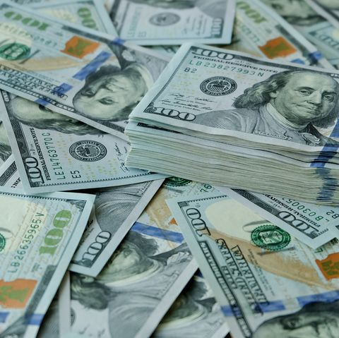 stacking of us dollar bank notes