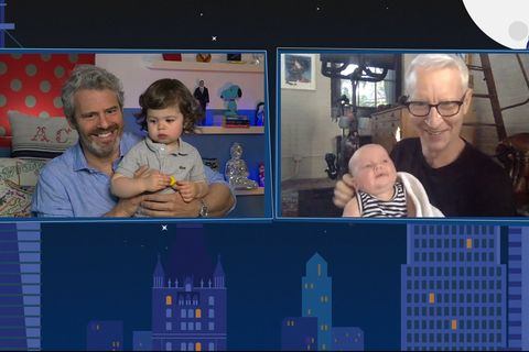 See what happens live to Andy Cohen.  Home episode 17104 pictured on this screen.  Grave Andy Cohen, Benjamin Cohen, Wyatt Cooper, Anderson Cooper Photo by Bravonbcu Photo Bank via getty images