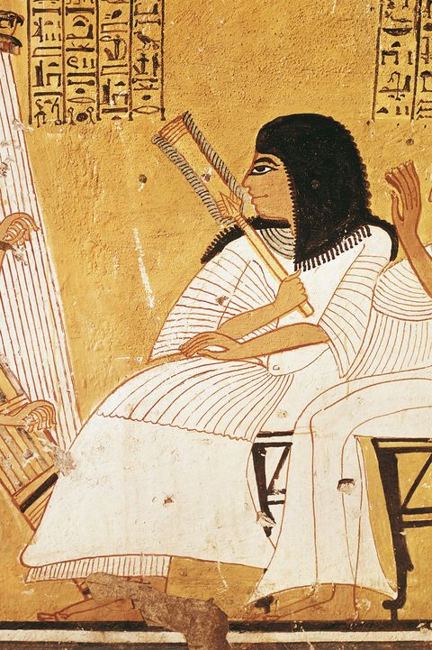 Egypt, Ancient Thebes, Dayr al-Madinah (Deir el-Medina), tomb of Anherkha, mural painting of deceased Khai-Inherkha and wife before blind harpist