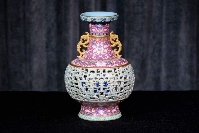 the harry garner reticulated vase, a lost masterpiece of chinese porcelain produced in limited quantities between 1742 and 1743 for the qianlong emperor, is displayed during a media preview at sothebys in hong kong on june 26, 2020   the vase is expected to fetch in excess of 70 million hkd 903 million usd during its auction on july 11, sothebys said photo by anthony wallace  afp  restricted to editorial use   mandatory mention of the artist upon publication   to illustrate the event as specified in the caption photo by anthony wallaceafp via getty images
