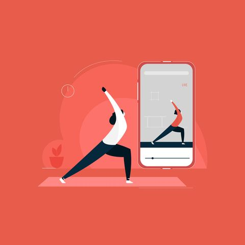 girl exercising with online yoga trainer in mobile phone, concept of online yoga courses illustration, indoor fitness activity, yoga at home