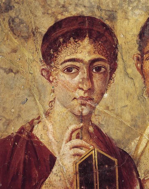 Portrait of baker Terentius Neo and his wife in formal clothes, detail of the wife with her stylus and diptych open from Italy, Campania, Pompeii, 55-79 A.D., painting on plaster