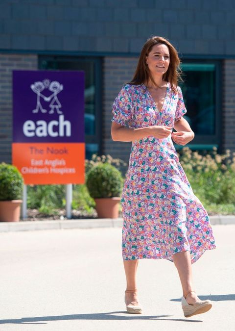 britains catherine, duchess of cambridge, visits the nook in the village of framlingham earl, south of norwich, eastern england on june 25, 2020, which is one of the three east anglia childrens hospices each   the duchess is the royal patron of the charity which offers care and support for children and young people with life threatening conditions and their families across cambridgeshire, essex, norfolk and suffolk the duchess of cambridge on june 25 joined families from east anglias childrens hospices each to plant a garden using plants purchased during her june 18 visit to fakenham garden centre photo by joe giddens  pool  afp photo by joe giddenspoolafp via getty images