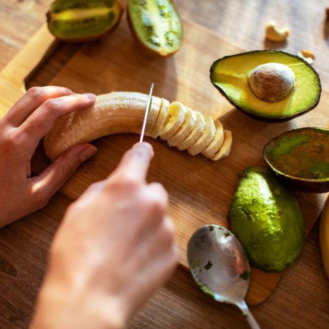 chopping banana and avocado