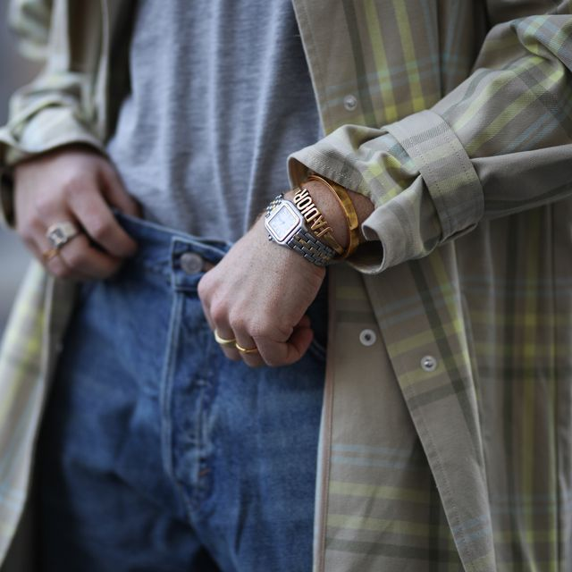 berlin, germany   may 06 erik scholz wearing gestuz coat, weekday jeans and shirt and cartier watch and dior and ariane ernst barcelet on may 06, 2020 in berlin, germany photo by jeremy moellergetty images