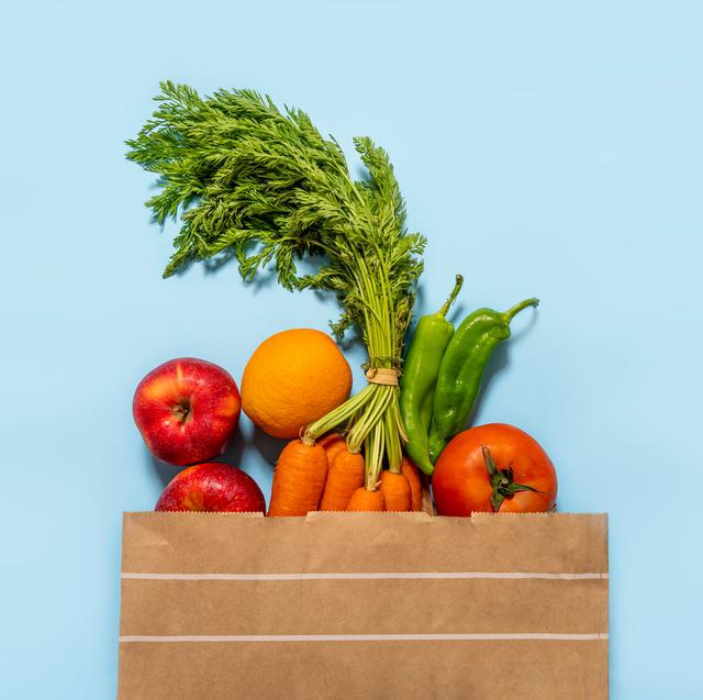 groceries in a brown paper bag