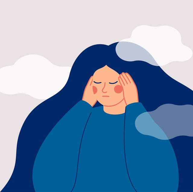 the sad woman touches her temples with her hands and suffers from a headache a depressed girl suffers from temporary memory loss and confusion vector illustration