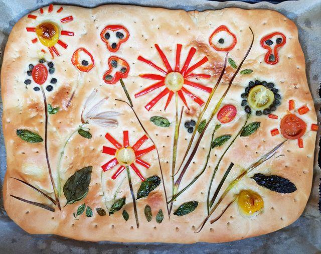 focaccia flower garden art baked
