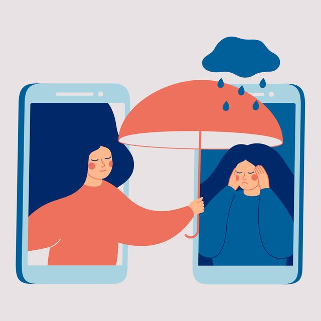 girl comforts her sad friend over the phone woman consoles and cares about girl with psychological problems concept of support and aid for people under stress and depression over online services