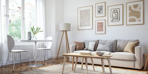 scandinavian interior design living room 3d render with beige and brown colored furniture and wooden elements
