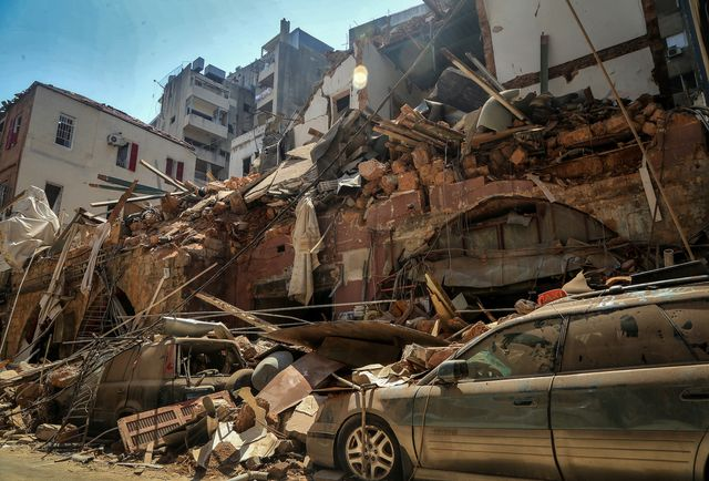 05 august 2020, lebanon, beirut cars are seen under the rubble of a destroyed house a day after a massive explosion in beirut's port that rocked the whole city, killing at least 100 people and injured thousands photo marwan naamanidpa photo by marwan naamanipicture alliance via getty images