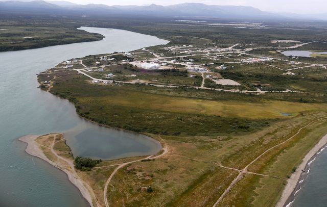 newhalen, alaska   july 23, 2019 the newhalen river flows into lake iliamna in newhalen, alaska, a native fishing village located near the site of the proposed pebble mine local residents are divided over whether to allow development of the mine, which would provide jobs but pose potentially large threats of damage to the pristine surrounding environment luis sincolos angeles times via getty images