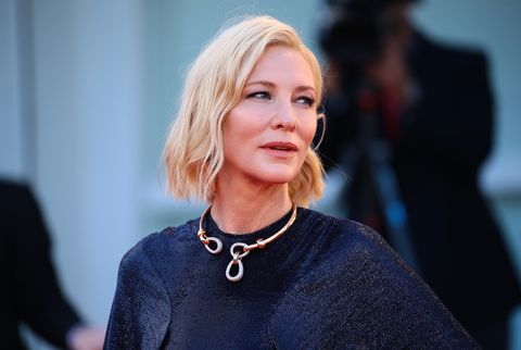 cate blanchett poses on the red carpet during the 77th venice film festival on september 02, 2020 in venice, italy  photo by matteo chinellatonurphoto via getty images