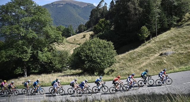 the pack rides during the 8th stage of the 107th edition of the tour de france cycling race, 140 km between cazeres sur garonne and loudenvielle, on september 5, 2020 photo by anne christine poujoulat  afp photo by anne christine poujoulatafp via getty images